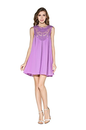 Little Smily Women's Casual Loose Lace Splicing Chiffon Mini Babydoll Flared Dress, Violet, S