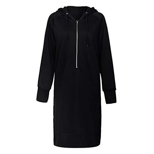 Alangbudu Women Zipper Up Hoodie Long Sleeve Button Side Tops Pullover Long Blouse Sweatshirt Tunic Windbreaker Overcoat Black