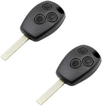 2x Renault Schl/üssel Geh/äuse Fernbedienung 2 Tasten Reparatur mit Bart KS08 Clio II Espace III Kangoo Laguna I Master II Megane I Sc/énic I Trafic II Twingo I