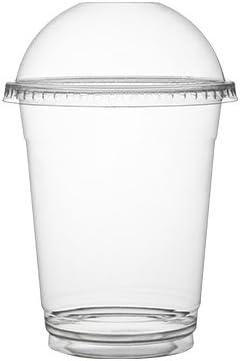 Pack de 100 tazas de plástico con tapas/tazas de café hielo con tapa de cúpula/tazas de batido, 340 ml