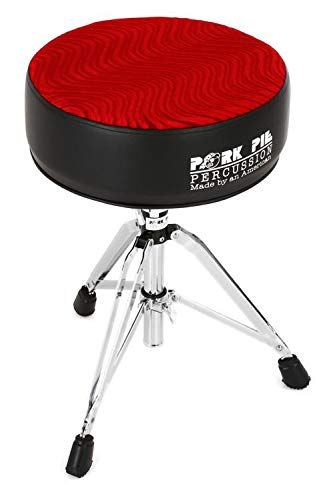 (Pork Pie Percussion Round Drum Throne - Black with Red Swirl)