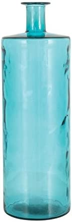 Deco 79 Glass Vase, Turquoise Finish, 10 by 30-Inch