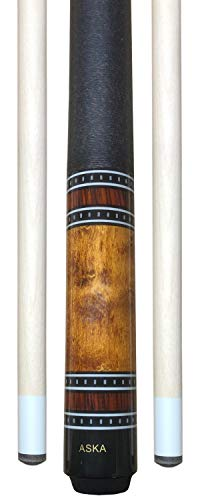 (Aska A1 Pool Cue Stick, Brown Stained Birdseye Maple Butt, Index Rings, Irish Linen Wrap, Two Uniloc Shafts, 12.75mm Tip, 19-Ounce)