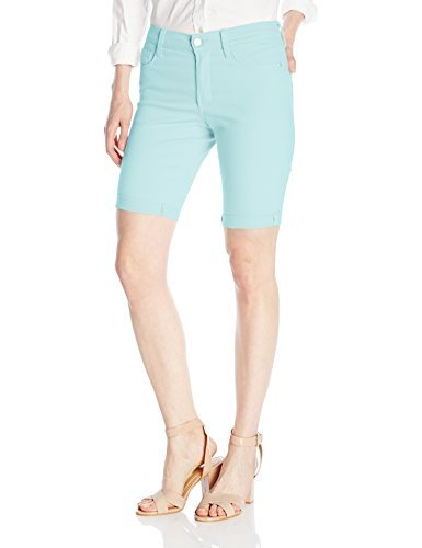 NYDJ Women's Petite Size Briella Roll Cuff Jean Short in Colored Bull Denim, Aqua Glass, 14 by NYDJ