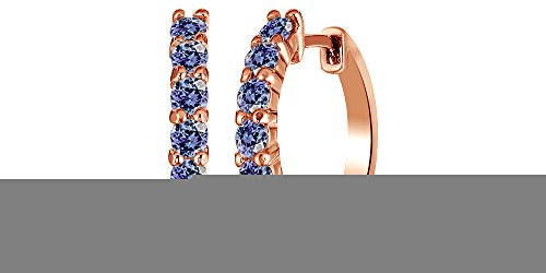 Valentines Day Gifts 14k Rose Gold Over Sterling Silver Round Cut Front Hoop Earrings (0.64 Diameter, 0.7 Cttw)