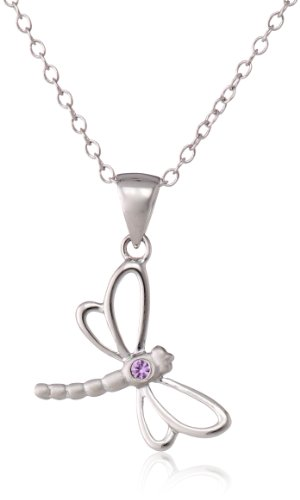 Sterling Silver Pre-Teen Pink Sapphire Dragonfly Pendant Necklace, 16""