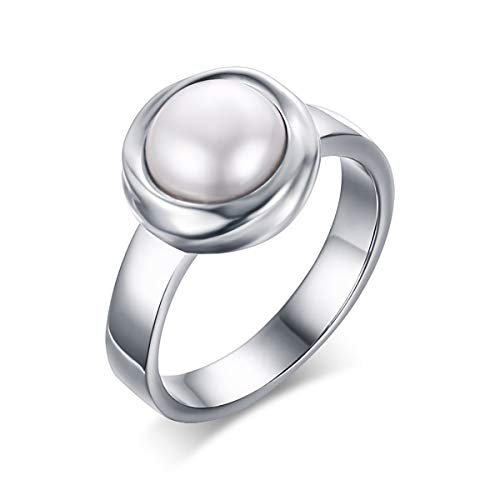 MUZI Stainless Steel Freshwater Cultured Pearl Engagement Ring for Women,US Size 7-9