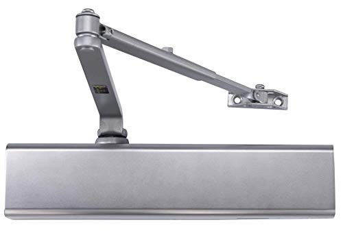 Heavy Duty Designer Commercial Door Closer - LYNN Hardware DC8016 (US26D Aluminum Finish)- Surface Mounted, Grade 1, Cast Aluminum, UL 3 Hour Fire Rated and ADA for high traffic doorways & storefronts (Guide Closer Door)