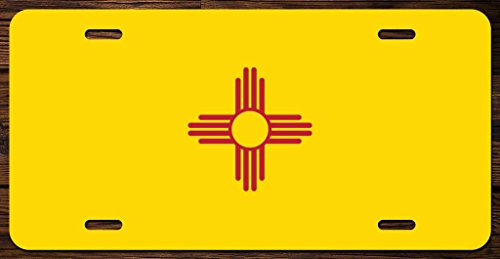 New Mexico State Flag Vanity Front License Plate Tag Printed Full Color KCFP017