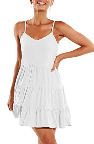 (ZJCT Womens Summer Dresses V Neck Sleeveless Spaghetti Strap Sundress Pleated Loose Swing Casual T Shirt Dress with Pockets White M)