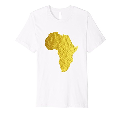Mens Africa Shirt African Map Faux Gold White Print Tee Top XL White by Africa Shirt Shop