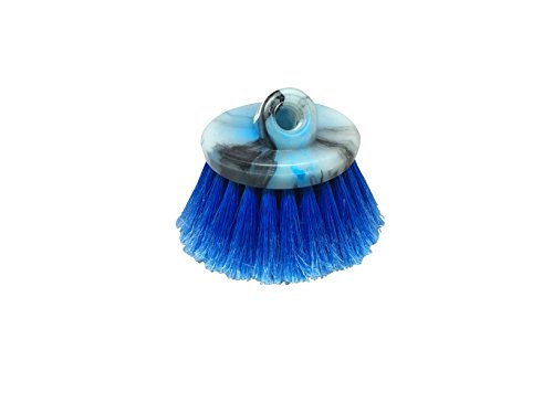 Round Wash Brush - Guttermaster Blue 6 Inch Diameter Round Medium Soft Flow Through Brush With Flagged Ends For RV's and Larger Vehicles