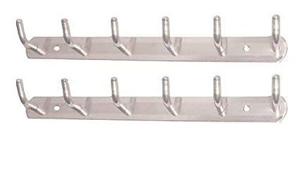 Smart Shophar Stainless Steel L Type Wall Hook 6 Legs Silver
