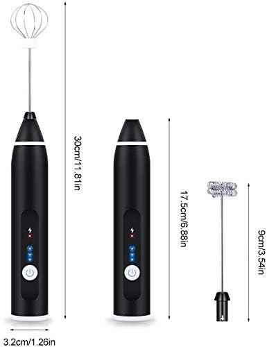 N/X Milchschäumer,Getränkemischer Schäumer, USB Wiederaufladbare Milchschäumer Handheld, Tragbare Elektrische Kaffeeschaummaschine Mixer Für Kaffee Tee Eier (Black)