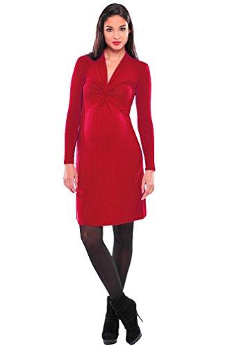Olian Maternity Dresses - Olian Lucy Long Sleeve V Neck Maternity Knee Length Dress (X-Small, Red)
