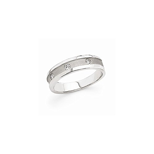 JewelrySuperMart Collection 1/5 CT 14k White Gold AA Diamond Men's Band. 0.21 ctw.