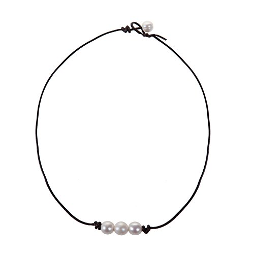 White Knotted Leather (The Feeling 3 White Pearl Bead Choker Necklace Knotted on Genuine Leather Jewelry for Women 16