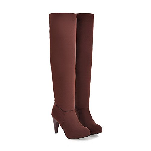 BalaMasa Girls Fashion Cone-Shape Heel Romanesque Style European Style Frosted Boots Brown tgJIwl