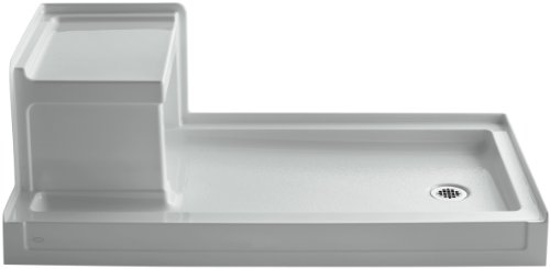KOHLER K-1976-95 Tresham 60-Inch by 32-Inch Shower Receptor with Integral Seat and Right-Hand Drain, Ice Grey