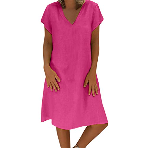 (WILLBE Women's Short Sleeve Dress Summer Linen Dress Women Summer Style T-Shirt Cotton Casual Midi Dress Solid Plus Size Hot Pink )
