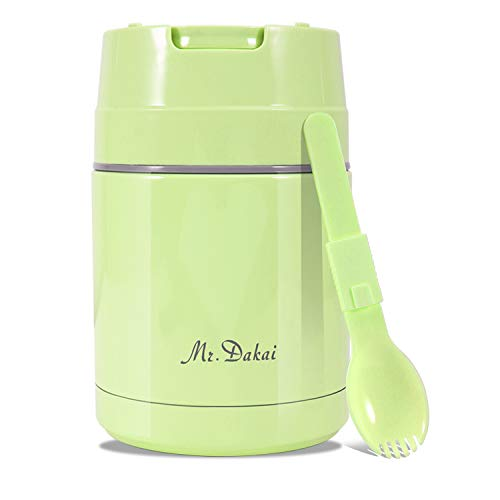 Mr.Dakai Insulated Lunch Containers Thermoses Food Jar Vacuum Stainless Steel 27 oz Leak Proof Keep Food Cold Hot Container for Kids Adult Lunch Box School Camping Outdoors, BPA Free (Green) (Best Container To Keep Food Hot)