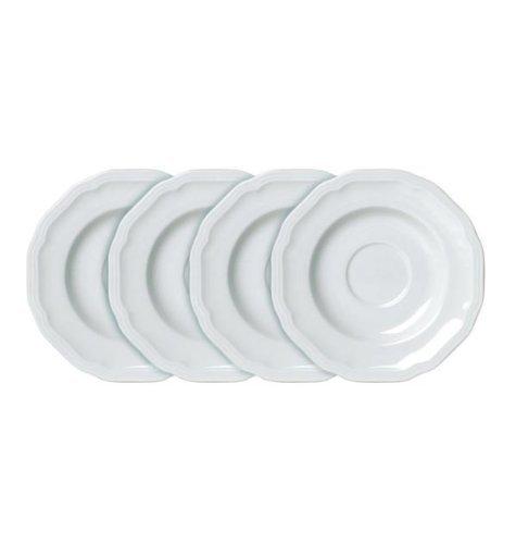 Antique White Teacup - Mikasa Antique White Tea Saucers, Set of 4 - White
