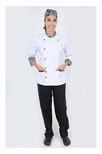 DAM Uniforms Women´s 3/4 Sleeves White Details Black Chef Coat