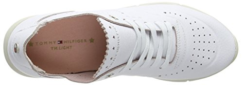 Top Sneakers Women's Hilfiger White White 100 Tommy Leather Light Low Weight UgwBq7