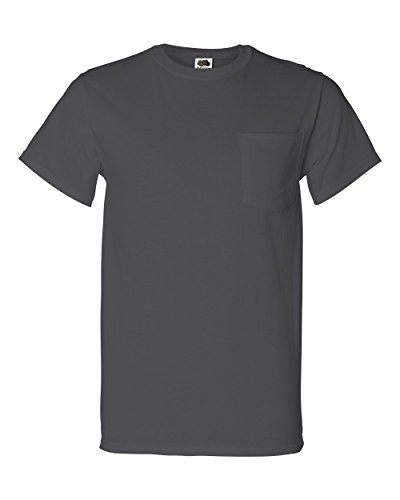 Fruit of the Loom Mens 5 oz. 100% Heavy Cotton HD Pocket T-Shirt (3931P) (Pack of 4)- Charcoal Grey, 2XL