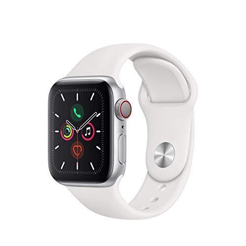 Apple Watch Series 5 (GPS + Cellular, 40 mm) Aluminio en Plata – Correa Deportiva Blanco