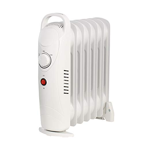 DOIT Space Heater Electric Oil Filled Radiator Radiant Heater PortablePower 700W Safety Feature 2 Power Settings White