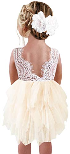 Size 18 Flower Girl Dresses (2Bunnies Girl Beaded Peony Lace Back A-Line Tiered Tutu Tulle Flower Girl Dress (Ivory Short Sleeveless, 12)