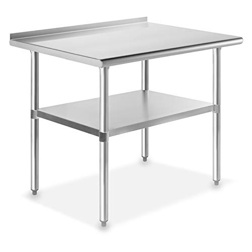 GRIDMANN NSF Stainless Steel Commercial Kitchen Prep & Work Table w/ Backsplash - 36 in. x 24 in.