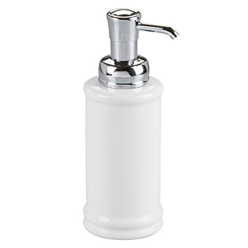(InterDesign Hamilton Glass Soap & Lotion Dispenser Pump for Kitchen or Bathroom Countertops, White/Chrome)