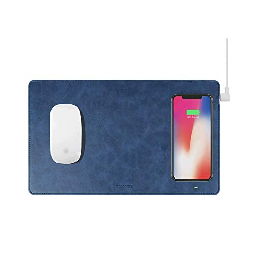 Gaze PAD Qi Wireless Fast Charging Mouse Pad Mat for iPhone X iPhone 8 Galaxy S8 S9 Plus Samsung Note 8 9 (Midnight Blue)