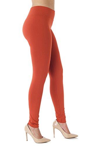 Conceited Fleece Lined Leggings for Women - LFL Rust Orange - Small/Medium