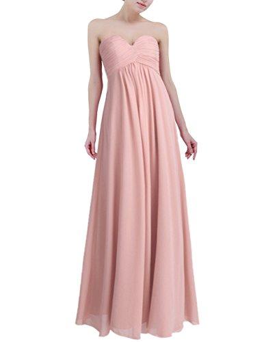 Freebily Vestido Largo Elegante Mujer Chica para Fiesta Cóctel Graduación Boda Vestido de Noche Rosa