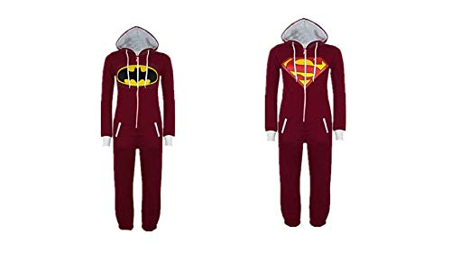 Tresbon Products Super Hero Red Onesie Loungewear Sleepwear Batman Superman (Superman Large) ()