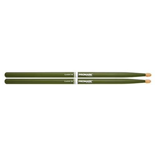 Promark American Hickory Classic 5B Drumsticks, Acorn Tip, Green - Single Pair