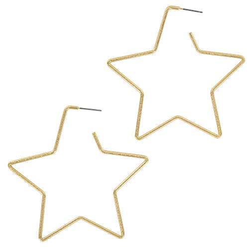 (And Lovely 14K Gold Dipped Star Earrings - Hypoallergenic Lightweight Fun Statement Drop Dangle Earrings (Brushed Gold Star Hoop))