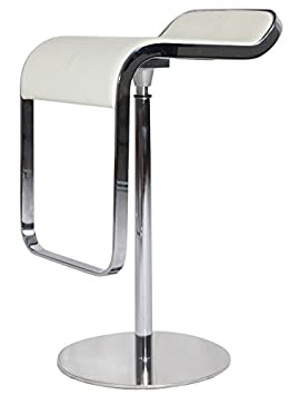 MLF LEM Style Piston Bar Stool. Adjustable 27.2-33.1inches Smooth Hydraulic Piston. 360176 Swivel Spin Smooth, White Italian Leather. Sturdy Polished Chrome Steel Frame.