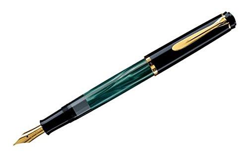 (Pelikan Tradition Series 200 Green Marble GT Medium Point Fountain Pen - 994103 )
