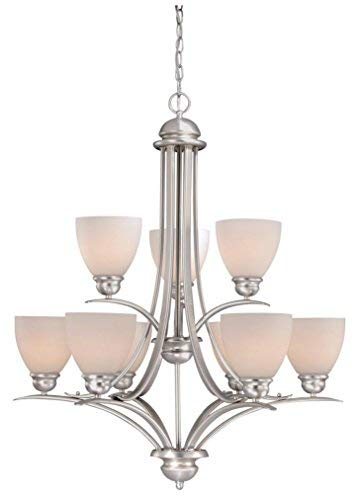 """Price comparison product image Vaxcel AL-CHU009BN Avalon 9 Light Chandelier,  29.5"""" x 29.5"""" x 34.75"""",  Brushed Nickel Finish"""