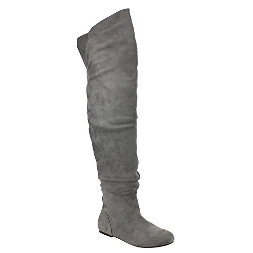 DA VICCINO TOP-01-HI Women's Slouch Size Zipper Flat Tigh High Boots, Color:GREY, Size:8.5