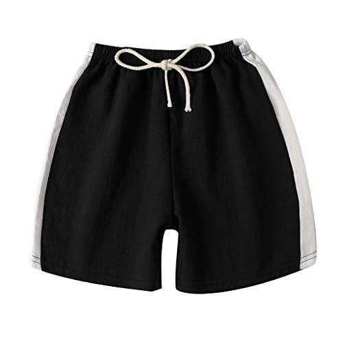 Trule Comfortable Fashion Summer Children Kids Boy Girl Linen Casual Shorts Elastic Waist Pants Clothes Black ()