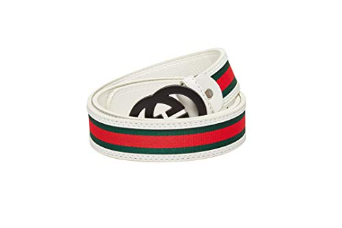Fashion G-Style Unisex Business Casual White Leather Belt [3.8CM] (white with black buckle, ()