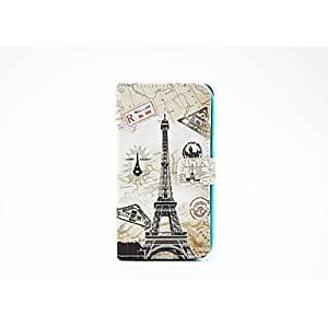 TOPQQ Map Setting Tower Pattern PU Leather Full Body Case with Stand for Samsung Note 2 N7100