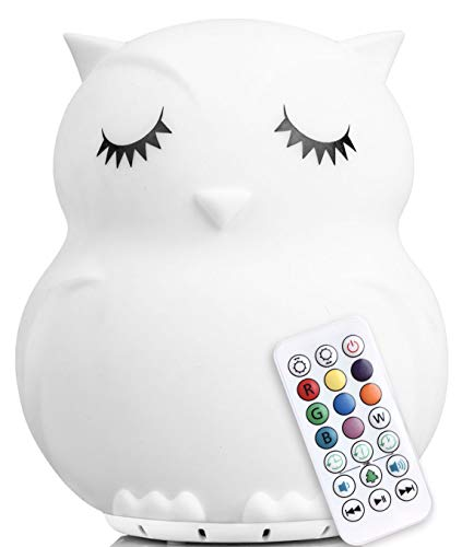 LED Nursery Night Lights for Kids with Bluetooth Music: Lumi Pets Cute Animal Silicone Baby Night Light with Sound Portable and Rechargeable Infant or Toddler Cool Color Changing Nightlight (Owl) from Lumipets