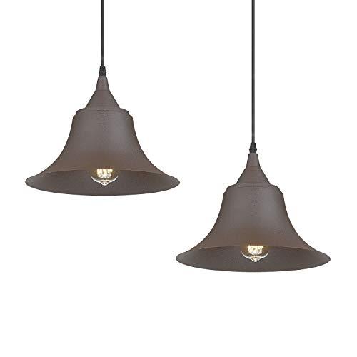 Emliviar Vintage Industrial Pendant Light, Retro Rustic Farmhouse Outdoor Hanging Light 2 Pack, 50006-2MP