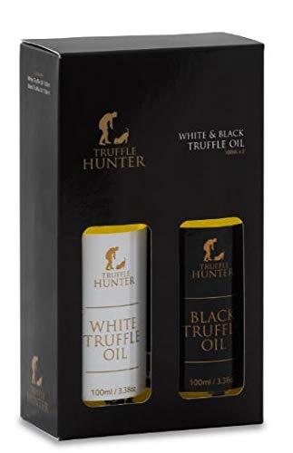 TruffleHunter Black & White Truffle Oil Gift Set (2 x 3.38 Oz) Extra Virgin Olive Oil Seasoning Garnish Gourmet Food Gift Basket Salad Dressing - Vegan, Kosher Gluten Free Nut Free, Vegetarian